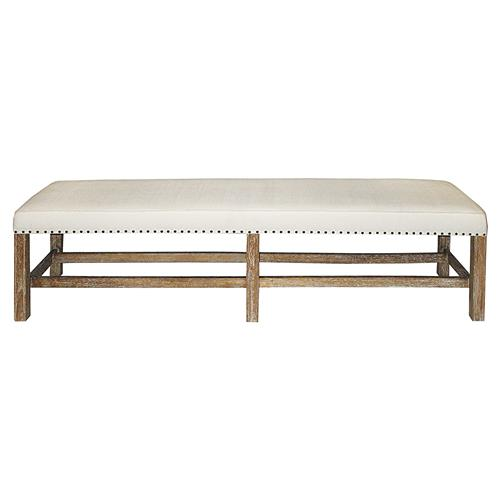 Noir Sweden Rustic Lodge White Cotton Brown Mindi Wood Nailhead Bench | Kathy Kuo Home