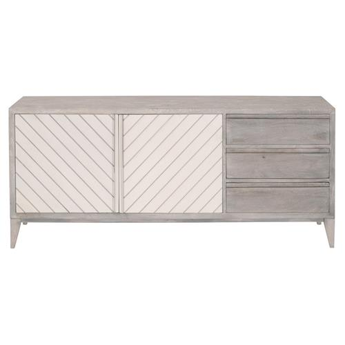 Recille French Country Grey Wood Frame White Concrete Door Media Sideboard | Kathy Kuo Home