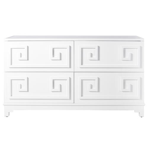 Lucio Hollywood Regency Greek White Lacquer Mirror Dresser | Kathy Kuo Home