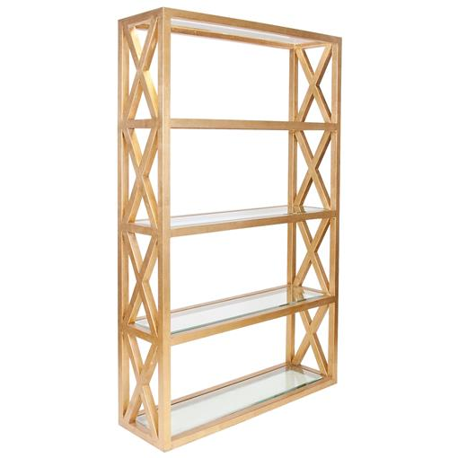 Montgomery Hollywood Regency Gold Leaf Glass Etagere | Kathy Kuo Home