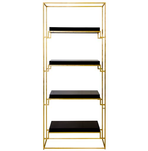 Brenner Hollywood Regency Gold Black Lacquer Etagere | Kathy Kuo Home