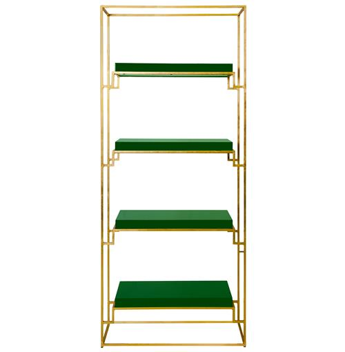 Brenner Hollywood Regency Gold Green Lacquer Etagere | Kathy Kuo Home