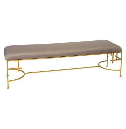 Limelight Hollywood Regency Light Brown Linen Gold Bench | Kathy Kuo Home