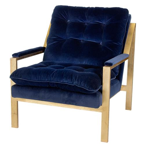 Cumulus Hollywood Regency Navy Blue Velvet Gold Arm Chair | Kathy Kuo Home