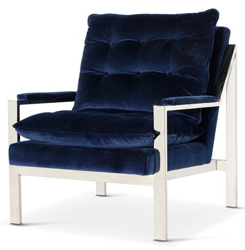 Cumulus Hollywood Regency Navy Blue Velvet Nickel Arm Chair | Kathy Kuo Home