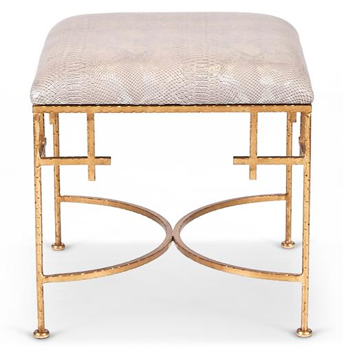 Limelight Hollywood Regency Taupe Shimmer Snakeskin Gold Stool Ottoman | Kathy Kuo Home