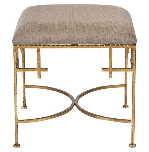 Limelight Hollywood Regency Light Brown Linen Gold Stool Ottoman | Kathy Kuo Home