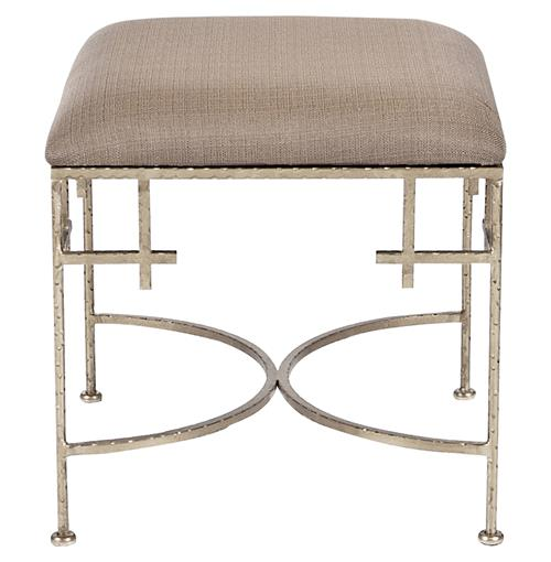 Limelight Hollywood Regency Light Brown Linen Silver Stool Ottoman | Kathy Kuo Home