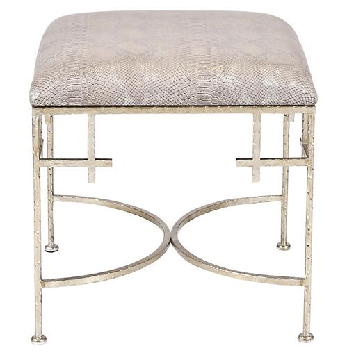 Limelight Hollywood Regency Taupe Shimmer Snakeskin Silver Stool Ottoman | Kathy Kuo Home