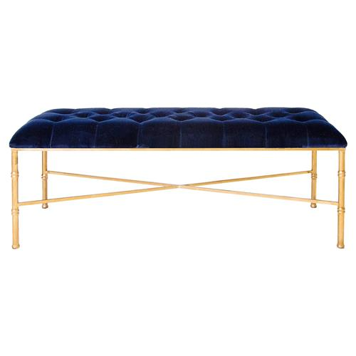 Gamine Hollywood Regency Gold Bamboo Navy Blue Velvet Bench | Kathy Kuo Home