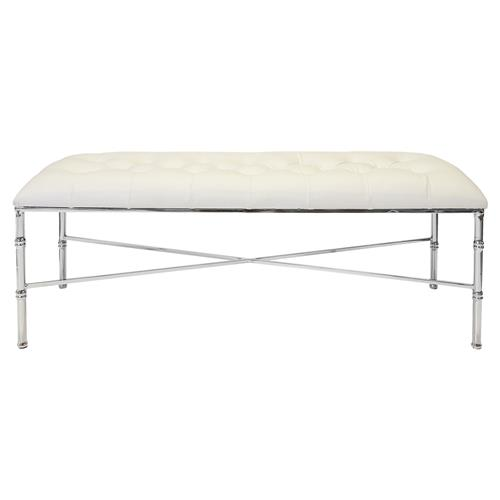 Gamine Hollywood Regency Silver Bamboo White Leather Bench | Kathy Kuo Home