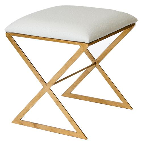 Chi Hollywood Regency Gold White Ostrich Stool Ottoman | Kathy Kuo Home