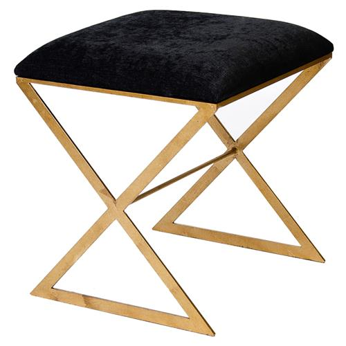 Chi Hollywood Regency Gold Brown Velvet Stool Ottoman | Kathy Kuo Home
