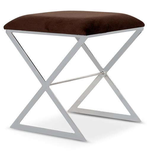 Chi Hollywood Regency Silver Brown Velvet Stool Ottoman | Kathy Kuo Home