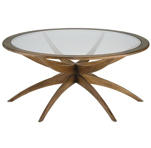 Henry Mid Century Modern Weathered Walnut Round Coffee