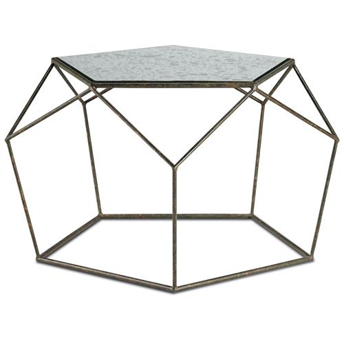 Zin Geometric Industrial Antique Mirror Bronze Coffee Table | Kathy Kuo Home
