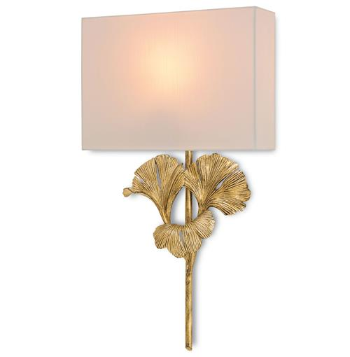 Naomi Gingko Leaf Antique Gold Elegant Wall Sconce | Kathy Kuo Home