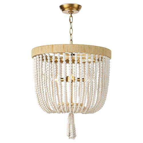 Regina Andrew Milos Coastal White Steel Beach Brown Rattan Chandelier | Kathy Kuo Home