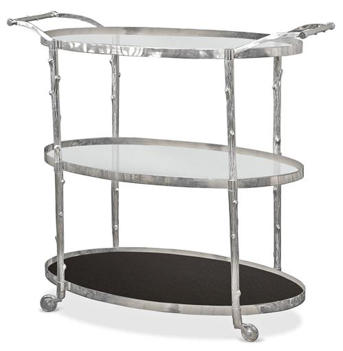 Vineyard Hollywood Regency 3 Shelf Nickel Bar Cart | Kathy Kuo Home