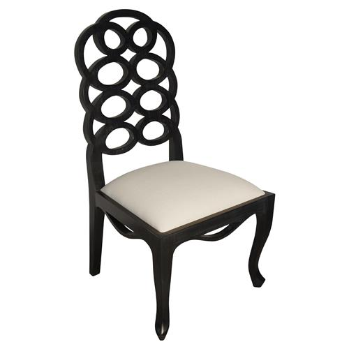 Greta Hollywood Regency Hand Rubbed Black Wood Side Chair | Kathy Kuo Home