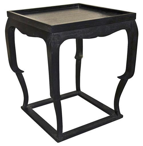 Noir Bellini Global Bazaar Black Wood Side Table | Kathy Kuo Home