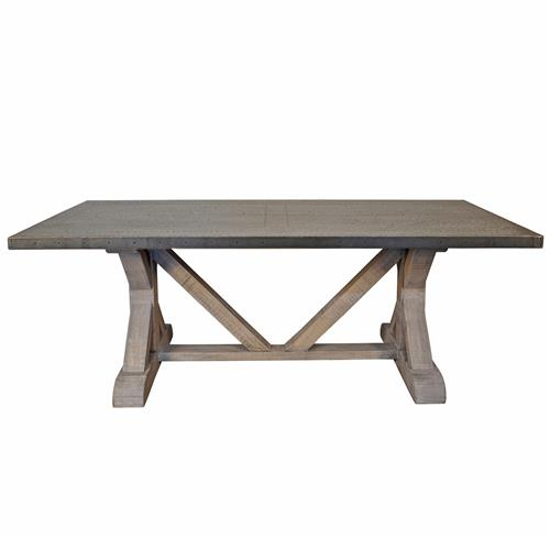 Duane Industrial Loft Zinc Top X Base Rectangular Dining Table | Kathy Kuo Home