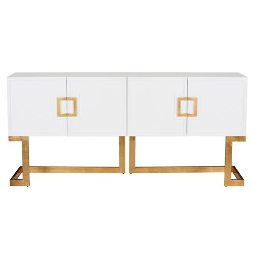 Emmett Hollywood Regency White Lacquer Gold Media Console Cabinet | Kathy Kuo Home