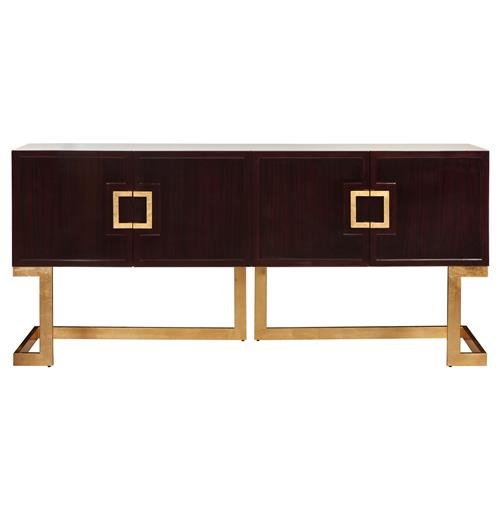 Emmett Hollywood Regency Rosewood Gold Media Console Cabinet | Kathy Kuo Home