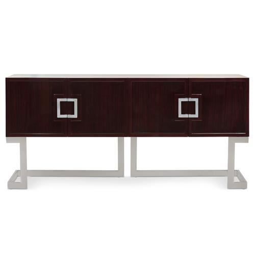 Emmett Hollywood Regency Rosewood Steel Media Console Cabinet | Kathy Kuo Home