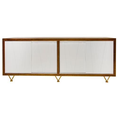 Longwood Mid Century White Brown Wood Media Cabinet | Kathy Kuo Home