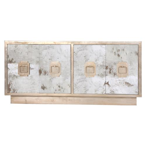 Chantal Hollywood Regency Antique Silver Mirror Sideboard Buffet | Kathy Kuo Home