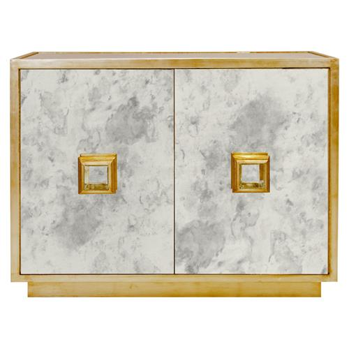 Chantal Hollywood Regency Antique Gold Mirror Cabinet | Kathy Kuo Home