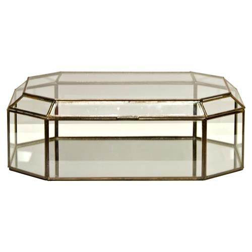 Bishop Hollywood Regency Octagonal Clear Glass Box | Kathy Kuo Home