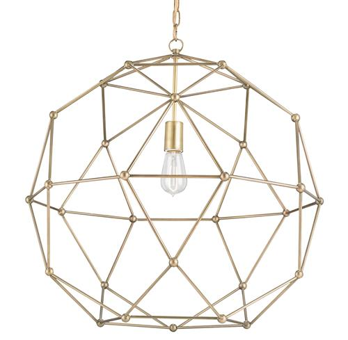 Geodesic Antique Brass Mid Century Modern Orb Pendant - 25 Inch | Kathy Kuo Home