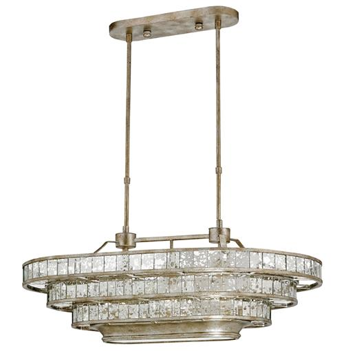 Delphine Parisian Bistro Antique Silver 3 Tier Oval Island Chandelier | Kathy Kuo Home