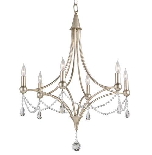 Gracie Crystal Elegant Beaded Antique Silver 6 Light Chandelier | Kathy Kuo Home