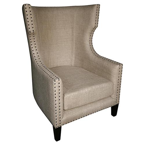 Noir Berne French Country Burlap Nailhead Wing Back Accent Chair | Kathy Kuo Home