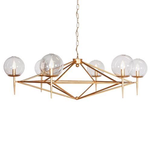 Sputnik Mid Century Retro Gold Chandelier | Kathy Kuo Home
