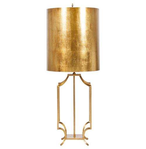 Haley Hollywood Regency Gold Leaf Table Lamp | Kathy Kuo Home