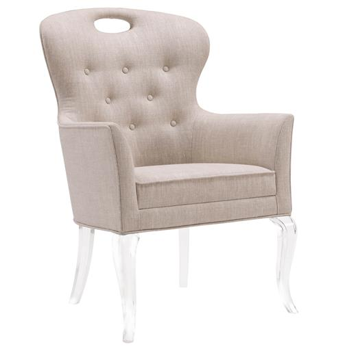 Anais Hollywood Regency Acrylic Tufted Linen Dining Arm Chair | Kathy Kuo Home