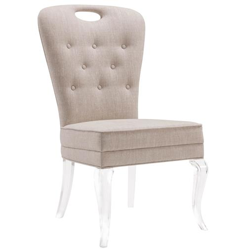 Anais Hollywood Regency Acrylic Tufted Linen Dining Side Chair | Kathy Kuo Home