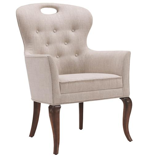Anais Hollywood Regency Button Tufted Linen Dining Arm Chair | Kathy Kuo Home