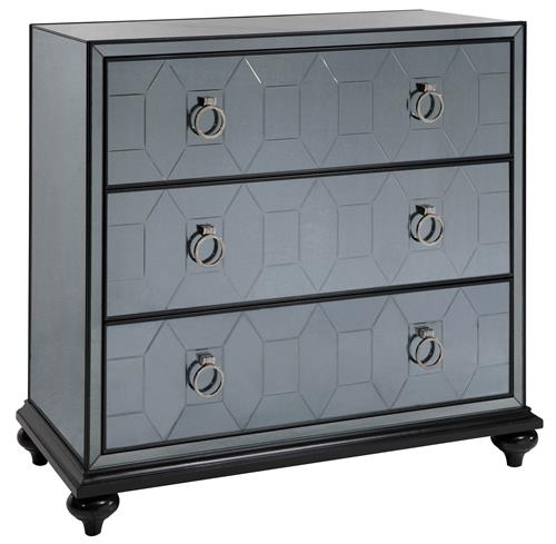 Hanson Hollywood Regency Smokey Grey Mirrored Dresser Nightstand | Kathy Kuo Home