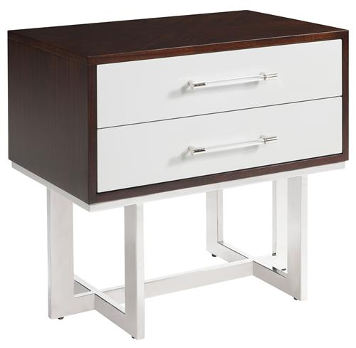 Balmour Modern Classic Espresso Light Grey Wood Steel Nightstand | Kathy Kuo Home