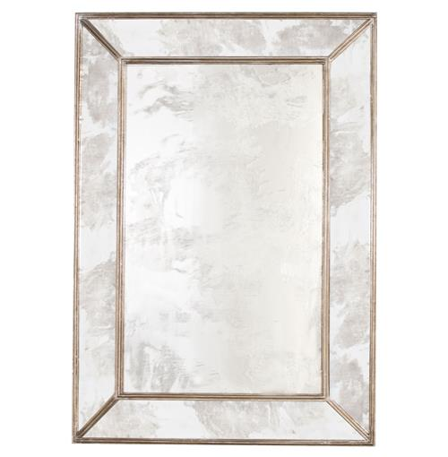 Dorian Hollywood Regency Rectangular Silver Antique Wall Mirror | Kathy Kuo Home