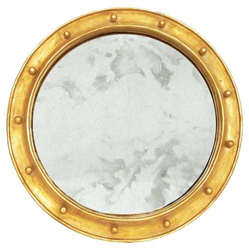 Argonaut Industrial Hollywood Regency Gold Antique Wall Mirror - 28D | Kathy Kuo Home