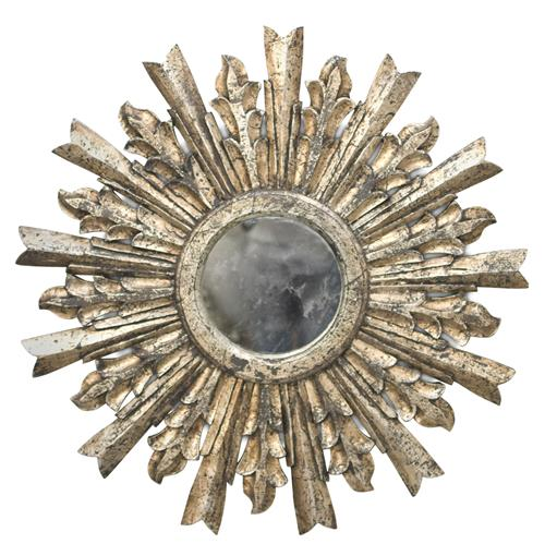 Salutation Global Bazaar Silver Sunburst Antique Wall Mirror | Kathy Kuo Home