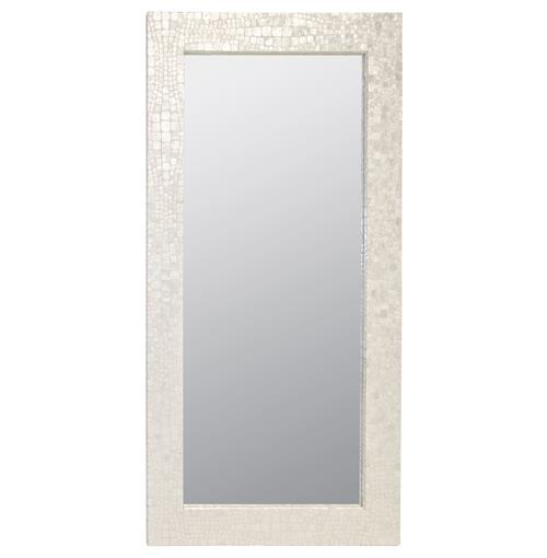Catalina Coastal Beach Capiz Shell Rectangular Floor Mirror | Kathy Kuo Home