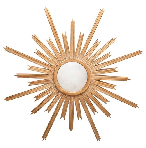 Vector Hollywood Regency Gold Sunburst Antique Wall Mirror | Kathy Kuo Home
