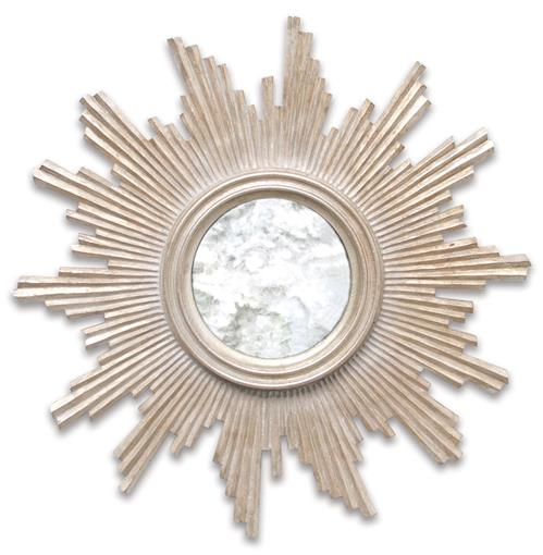 Mitzi Hollywood Regency Silver Sun Antique Wall Mirror | Kathy Kuo Home